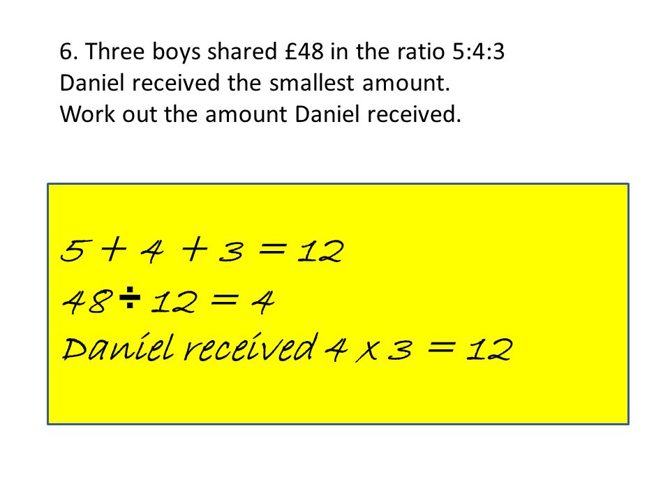 6. Three boys shared £48 in the ratio 5:4:3 Daniel received the smallest amount. Work out the amount Daniel received. 5 + 4 + 3 = 12 48 ÷ 12 = 4 Danie