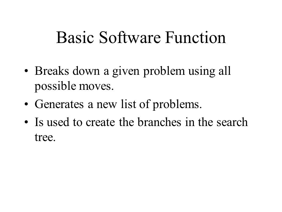 Basic Software Function Breaks down a given problem using all possible moves.