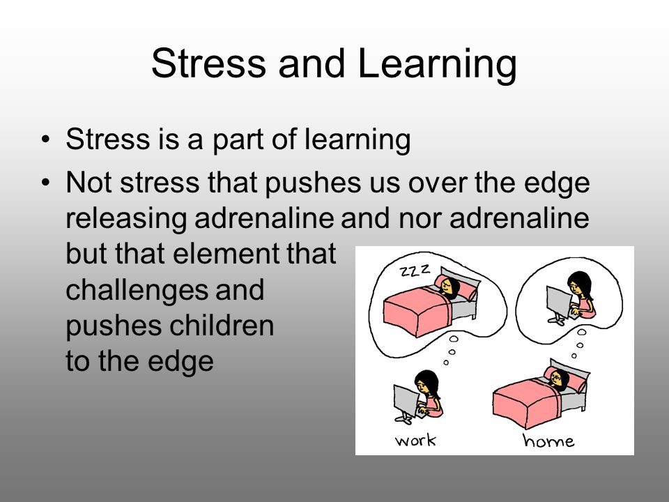 Stress and Learning Stress is a part of learning Not stress that pushes us over the edge releasing adrenaline and nor adrenaline but that element that challenges and pushes children to the edge