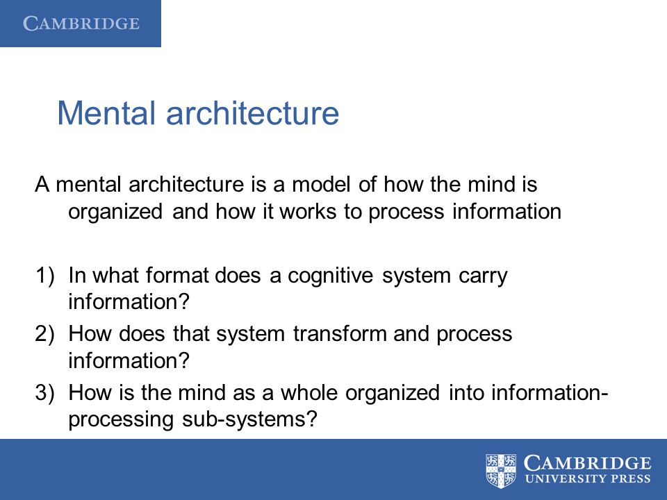Mental architecture A mental architecture is a model of how the mind is organized and how it works to process information 1)In what format does a cogn