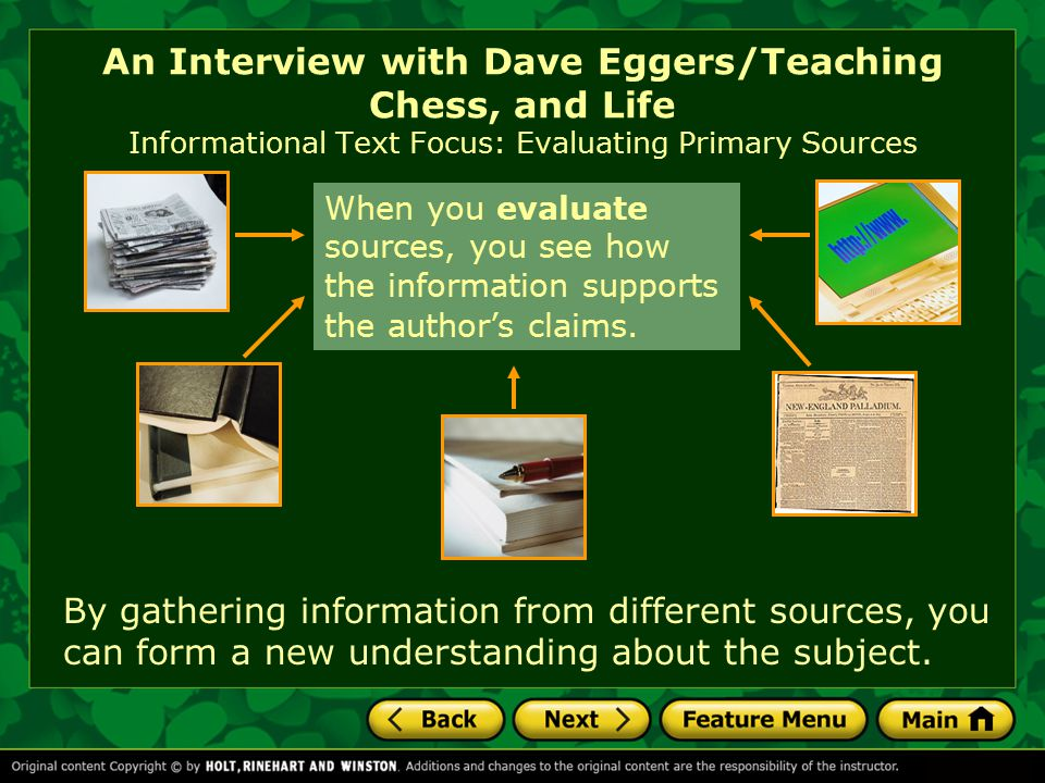 An Interview with Dave Eggers/Teaching Chess, and Life QuickWrite Write about an instance when you have either inspired someone else or been inspired by another person.