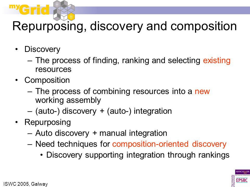 ISWC 2005, Galway Repurposing, discovery and composition Discovery –The process of finding, ranking and selecting existing resources Composition –The process of combining resources into a new working assembly –(auto-) discovery + (auto-) integration Repurposing –Auto discovery + manual integration –Need techniques for composition-oriented discovery Discovery supporting integration through rankings