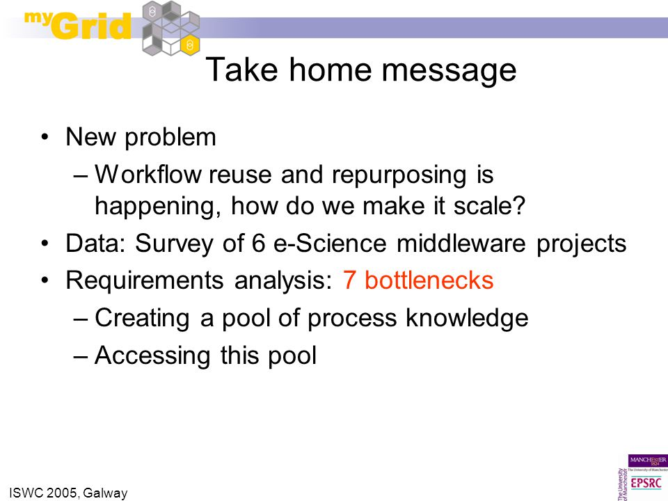 ISWC 2005, Galway Take home message New problem –Workflow reuse and repurposing is happening, how do we make it scale? Data: Survey of 6 e-Science mid