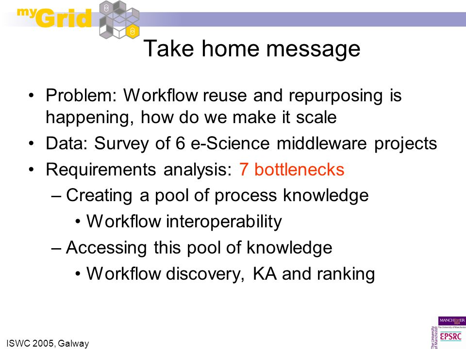 ISWC 2005, Galway Take home message Problem: Workflow reuse and repurposing is happening, how do we make it scale Data: Survey of 6 e-Science middleware projects Requirements analysis: 7 bottlenecks –Creating a pool of process knowledge Workflow interoperability –Accessing this pool of knowledge Workflow discovery, KA and ranking