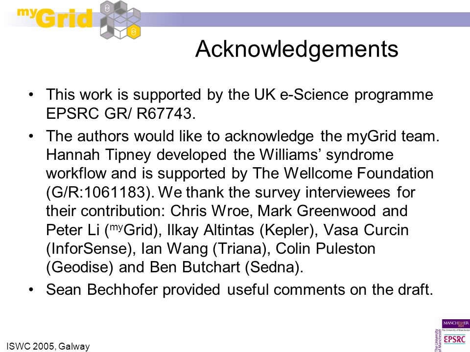 ISWC 2005, Galway Acknowledgements This work is supported by the UK e-Science programme EPSRC GR/ R67743. The authors would like to acknowledge the my