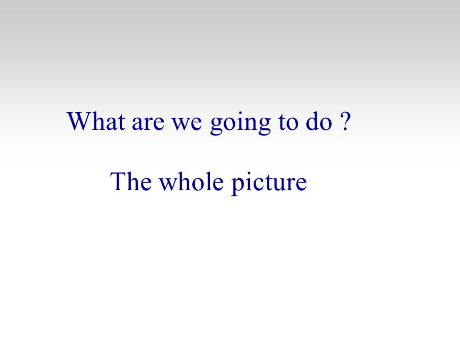 What are we going to do ? The whole picture