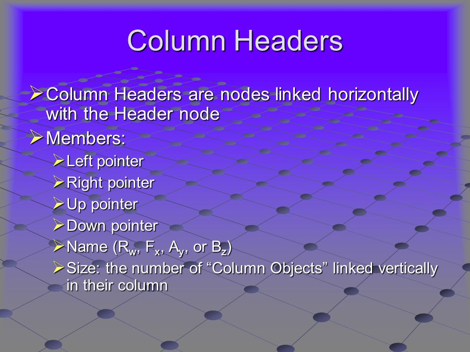Column Headers  Column Headers are nodes linked horizontally with the Header node  Members:  Left pointer  Right pointer  Up pointer  Down pointer  Name (R w, F x, A y, or B z )  Size: the number of Column Objects linked vertically in their column