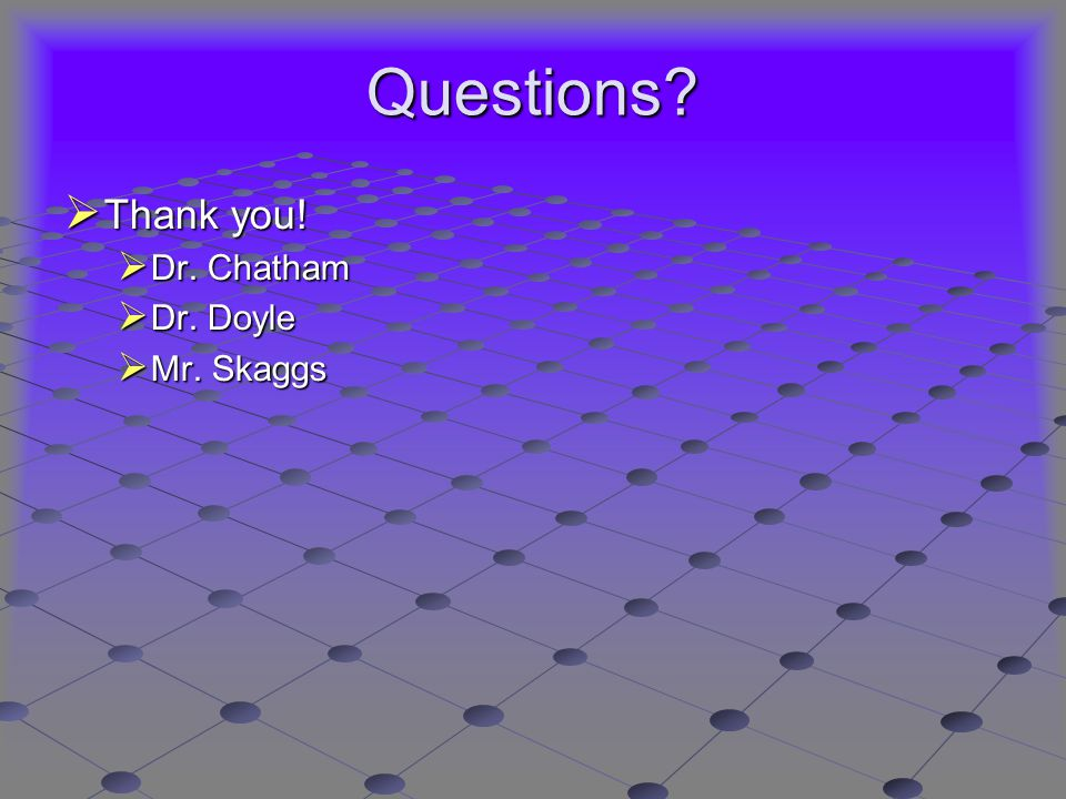 Questions  Thank you!  Dr. Chatham  Dr. Doyle  Mr. Skaggs