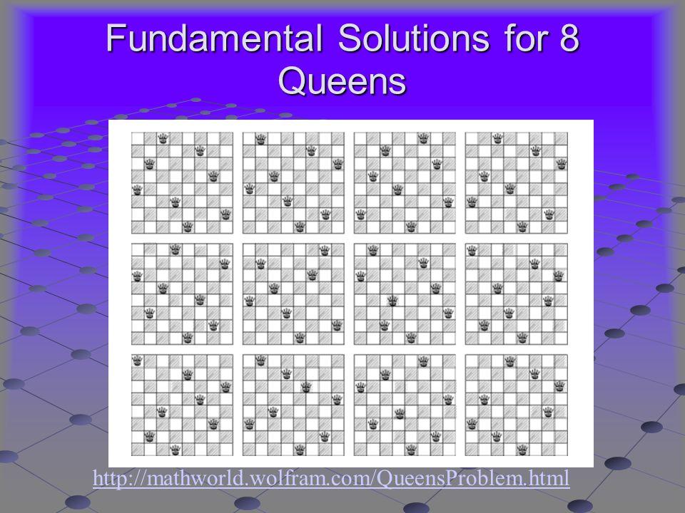 Fundamental Solutions for 8 Queens http://mathworld.wolfram.com/QueensProblem.html