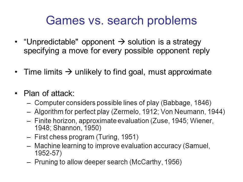 """Games vs. search problems """"Unpredictable"""