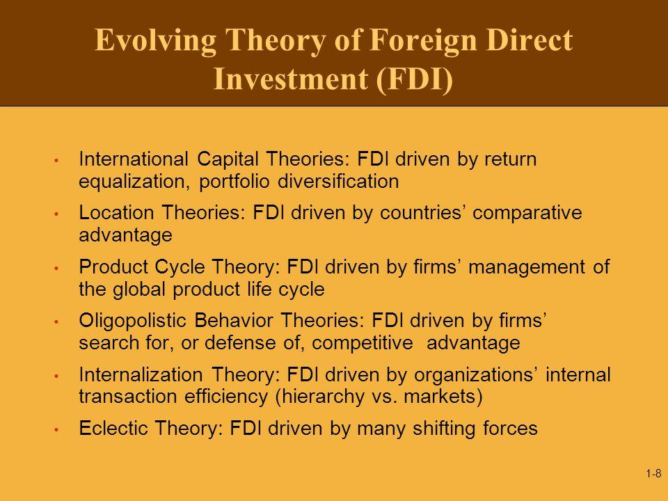 Evolving Theory of Foreign Direct Investment (FDI) International Capital Theories: FDI driven by return equalization, portfolio diversification Locati