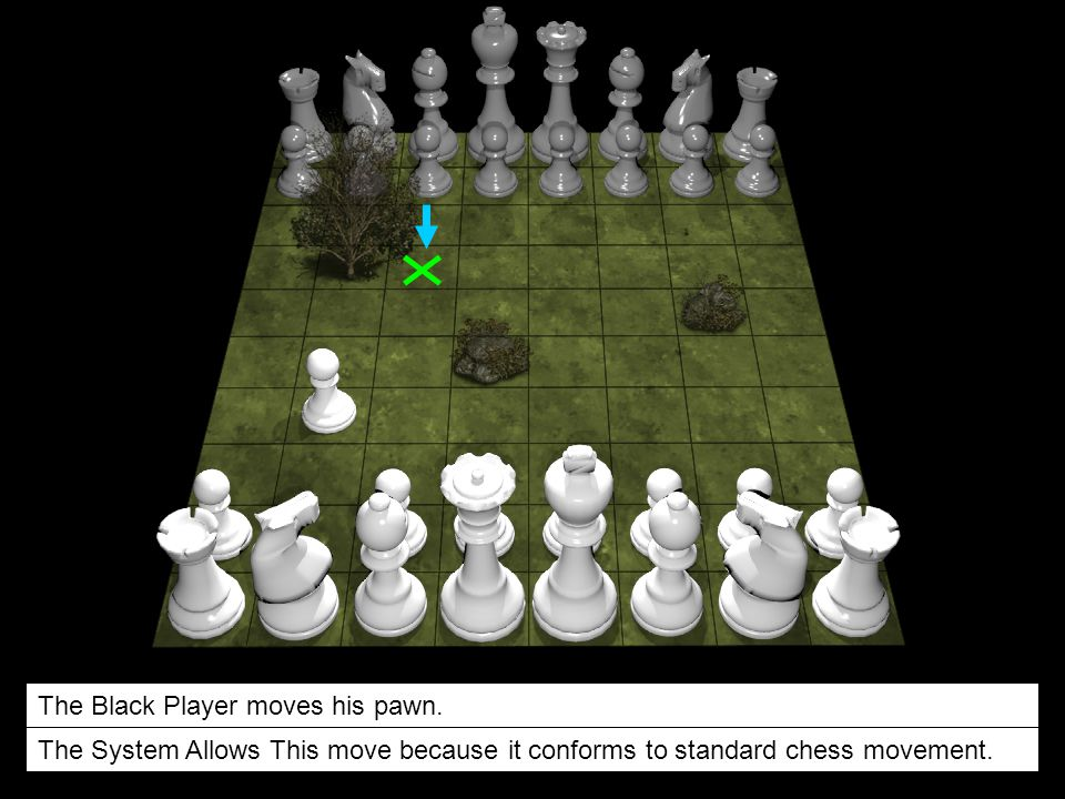 The Black Player moves his pawn. The System Allows This move because it conforms to standard chess movement.