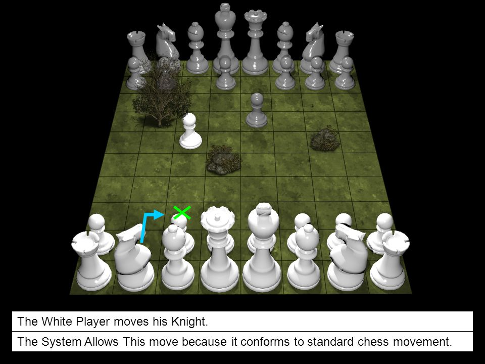 The White Player moves his Knight. The System Allows This move because it conforms to standard chess movement.
