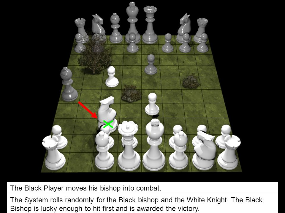 The Black Player moves his bishop into combat. The System rolls randomly for the Black bishop and the White Knight. The Black Bishop is lucky enough t