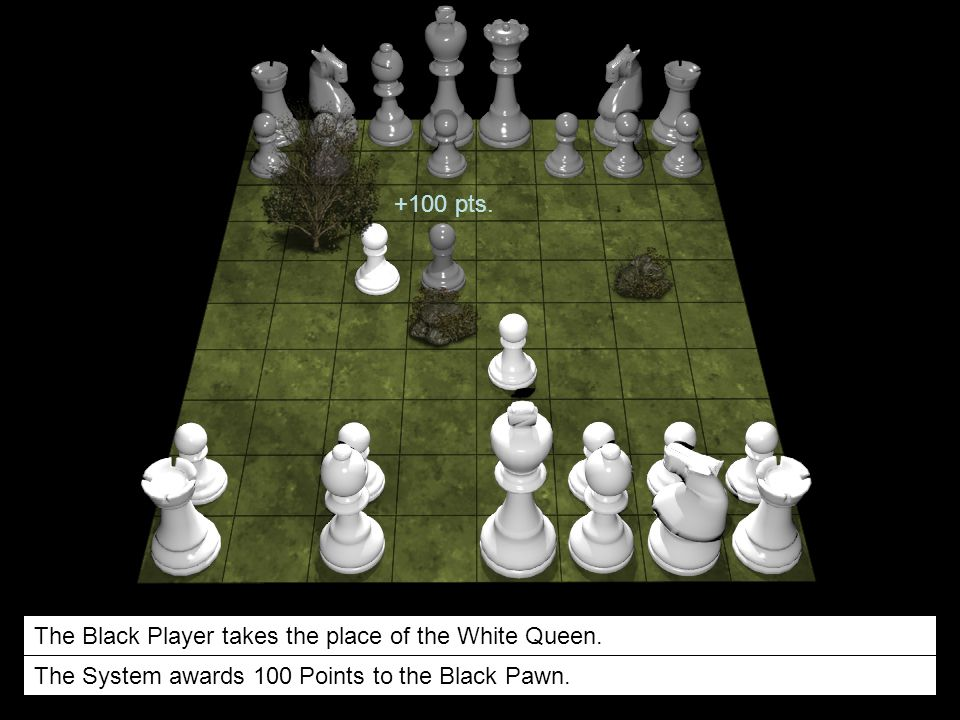 The Black Player takes the place of the White Queen. The System awards 100 Points to the Black Pawn. +100 pts.