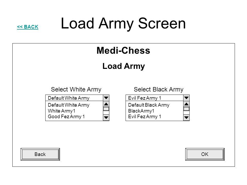 Load Army Screen OKBack Medi-Chess Load Army Default White Army White Army1 Good Fez Army 1 Evil Fez Army 1 Default Black Army BlackArmy1 Evil Fez Arm