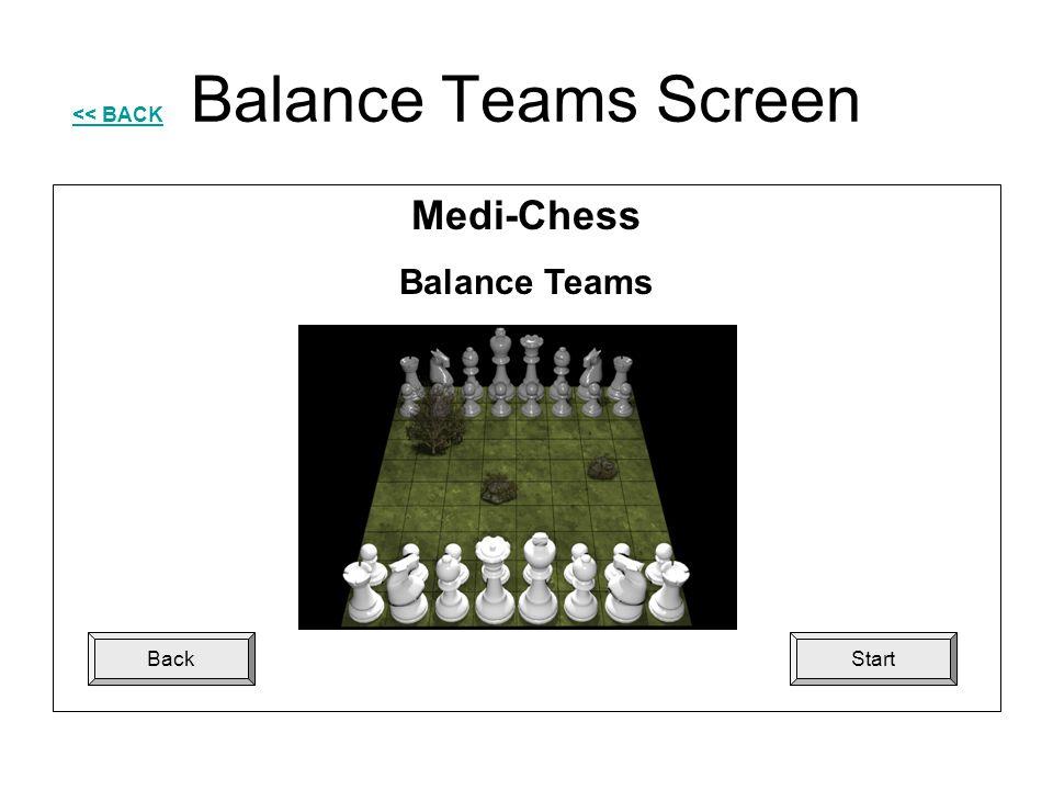 Balance Teams Screen << BACK StartBack Medi-Chess Balance Teams