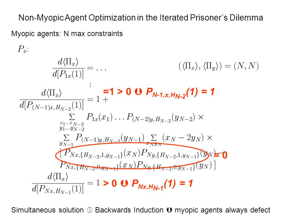 Non-Myopic Agent Optimization in the Iterated Prisoner's Dilemma Myopic agents: N max constraints = 0 > 0  P Nx,H N-1 (1) = 1 =1 > 0  P N-1,x,H N-2