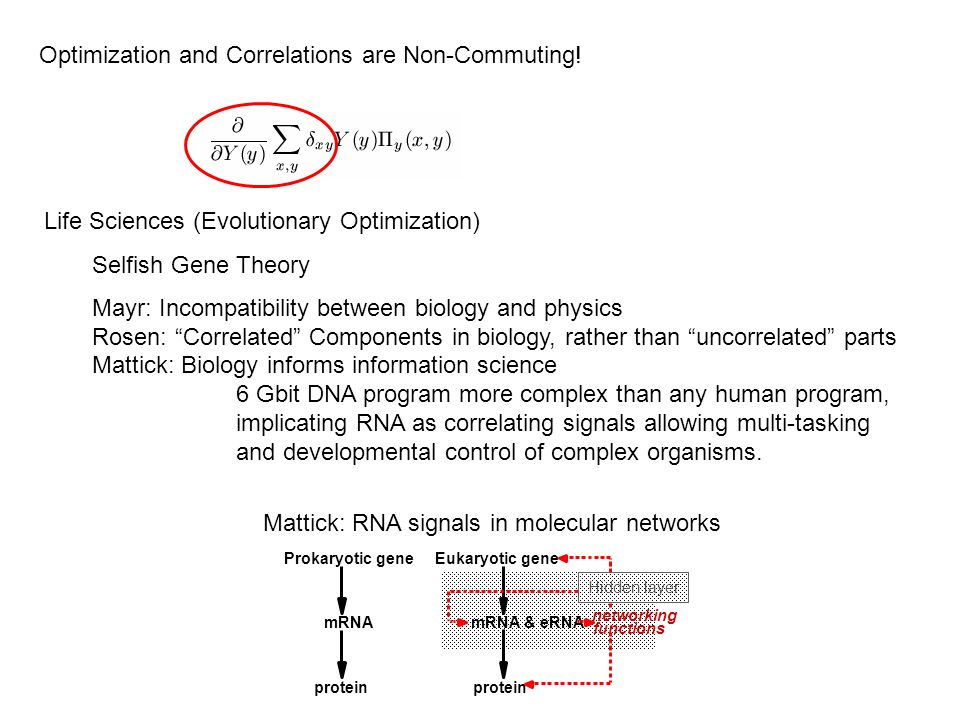 Optimization and Correlations are Non-Commuting! Life Sciences (Evolutionary Optimization) Selfish Gene Theory Mayr: Incompatibility between biology a
