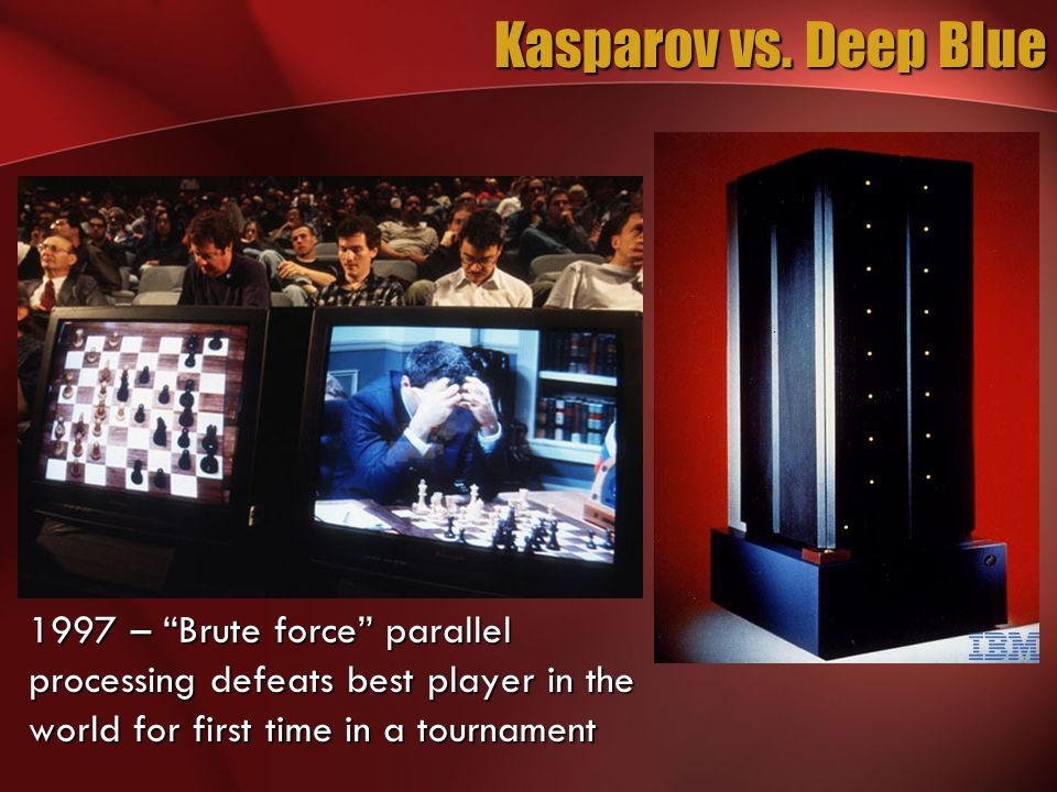 """Kasparov vs. Deep Blue 1997 – """"Brute force"""" parallel processing defeats best player in the world for first time in a tournament"""