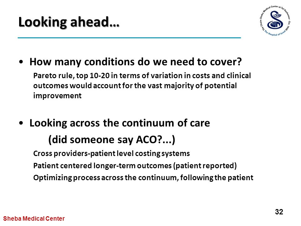 Looking ahead… How many conditions do we need to cover.