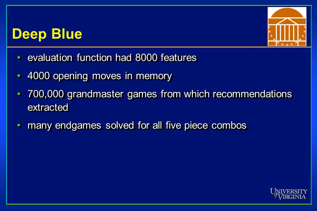 History of Games Chess, Deep Blue IBM: 30 RS/6000 comps with 480 custom VLSI chess chipsIBM: 30 RS/6000 comps with 480 custom VLSI chess chips Deep Th