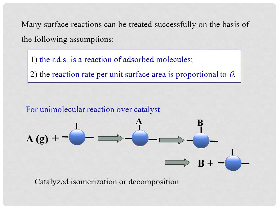 Many surface reactions can be treated successfully on the basis of the following assumptions: For unimolecular reaction over catalyst Catalyzed isomerization or decomposition A (g) + A B + B 1) the r.d.s.