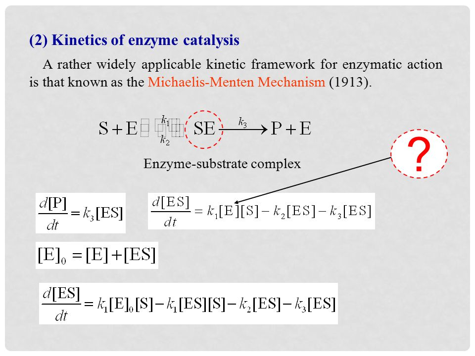 (2) Kinetics of enzyme catalysis A rather widely applicable kinetic framework for enzymatic action is that known as the Michaelis-Menten Mechanism (1913).