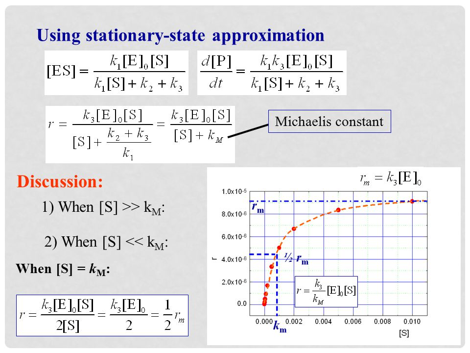 Using stationary-state approximation Michaelis constant Discussion: 1) When [S] >> k M : 2) When [S] << k M : When [S] = k M :
