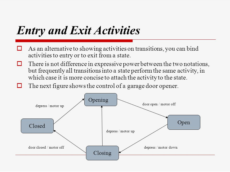Entry and Exit Activities  As an alternative to showing activities on transitions, you can bind activities to entry or to exit from a state.