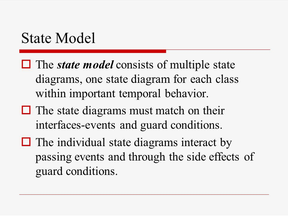 State Model  The state model consists of multiple state diagrams, one state diagram for each class within important temporal behavior.