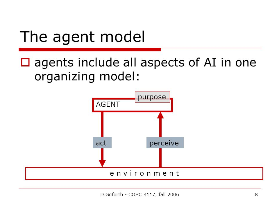 D Goforth - COSC 4117, fall 20068 The agent model  agents include all aspects of AI in one organizing model: e n v i r o n m e n t AGENT actperceive