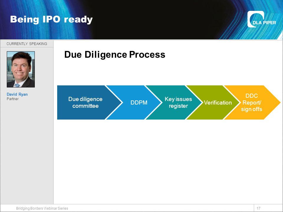 CURRENTLY SPEAKING 17 Welcome Bridging Borders Webinar Series Being IPO ready David Ryan Partner Due diligence committee DDPM Key issues register Verification DDC Report/ sign offs Due Diligence Process