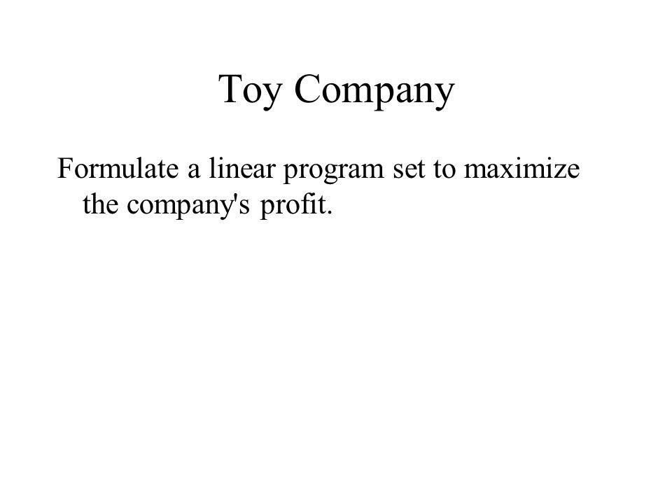 Toy Company Formulate a linear program set to maximize the company s profit.