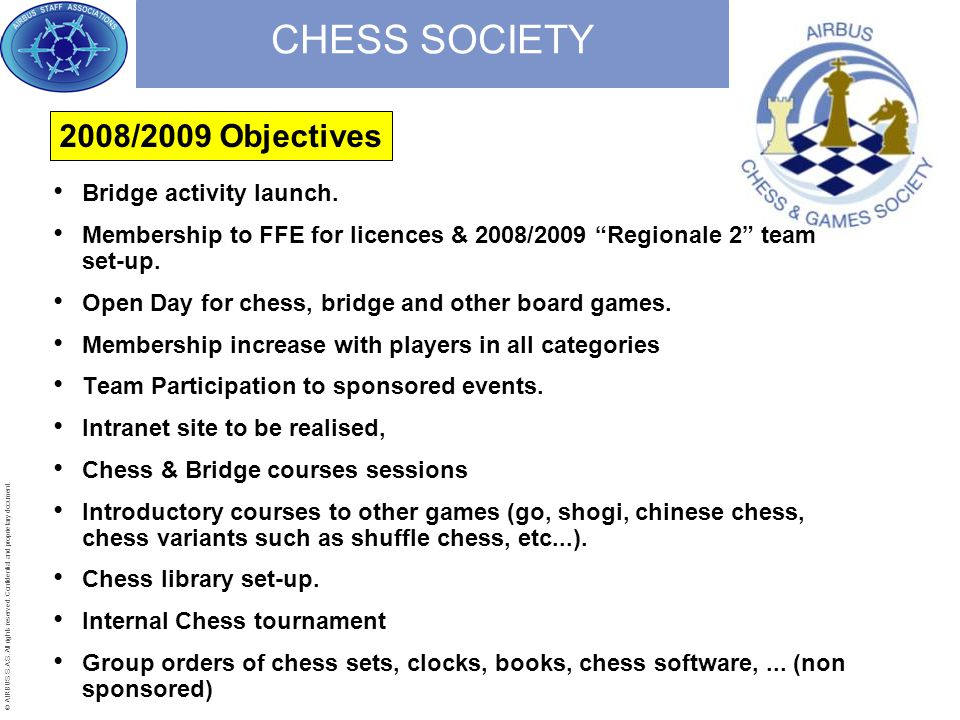 © AIRBUS S.A.S. All rights reserved. Confidential and proprietary document. CHESS SOCIETY Bridge activity launch. Membership to FFE for licences & 200