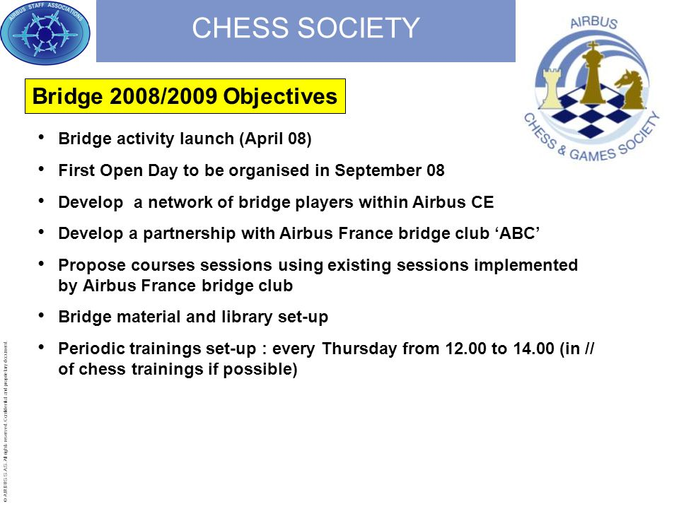 © AIRBUS S.A.S. All rights reserved. Confidential and proprietary document. CHESS SOCIETY Bridge activity launch (April 08) First Open Day to be organ
