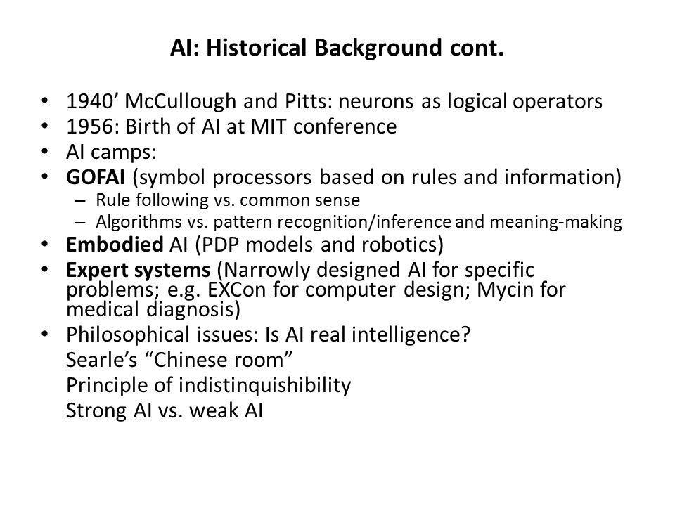 AI: Historical Background cont.
