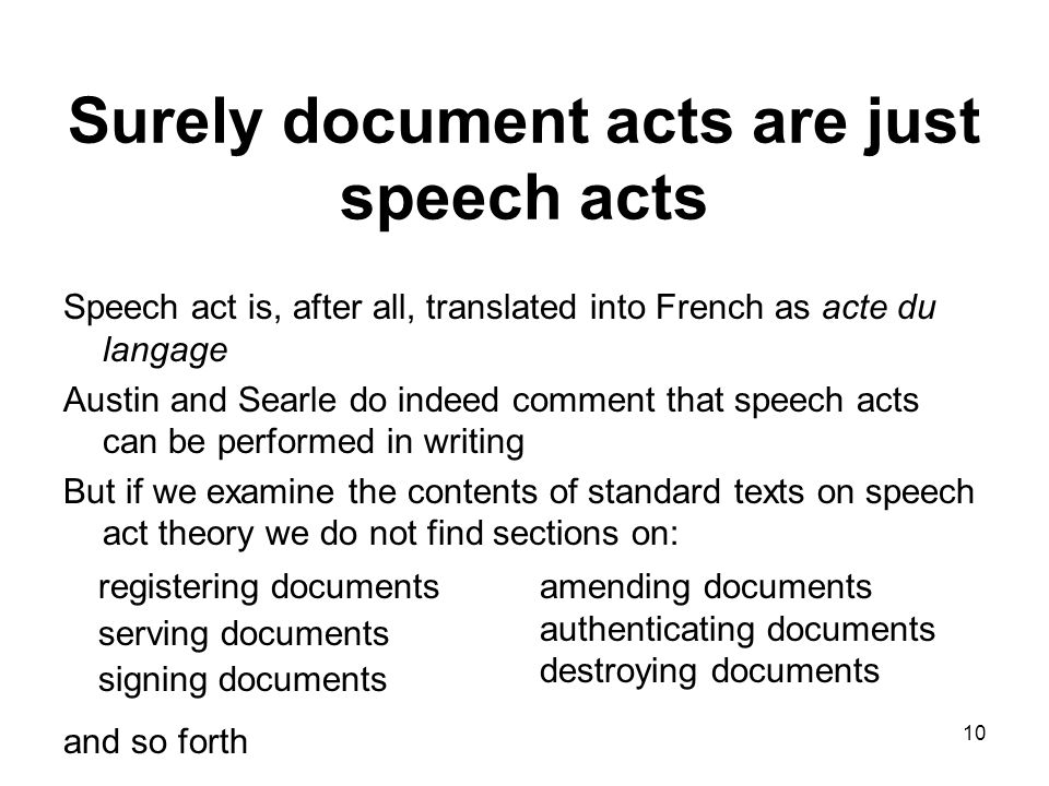 Surely document acts are just speech acts Speech act is, after all, translated into French as acte du langage Austin and Searle do indeed comment that speech acts can be performed in writing But if we examine the contents of standard texts on speech act theory we do not find sections on: and so forth 10 registering documents serving documents signing documents amending documents authenticating documents destroying documents