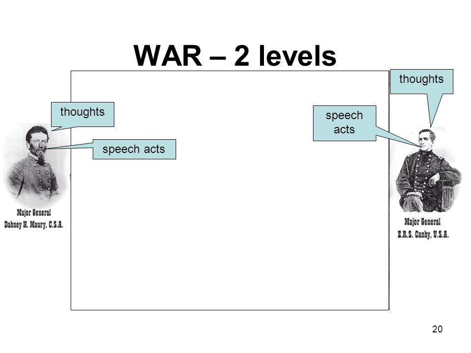 WAR – 2 levels events on the ground speech acts 20 thoughts
