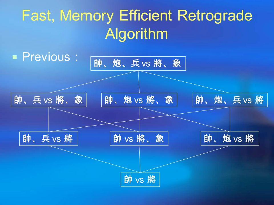 Fast, Memory Efficient Retrograde Algorithm  Previous : 帥、炮、兵 vs 將、象 帥、兵 vs 將、象帥、炮 vs 將、象帥、炮、兵 vs 將 帥、兵 vs 將帥 vs 將、象帥、炮 vs 將 帥 vs 將