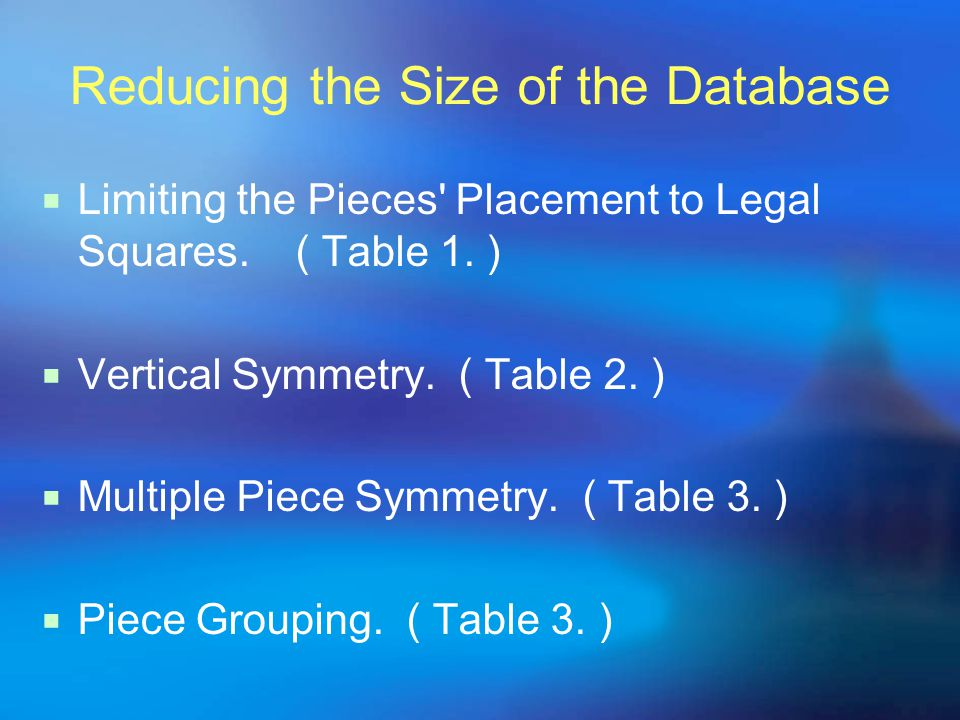 Reducing the Size of the Database  Limiting the Pieces Placement to Legal Squares.