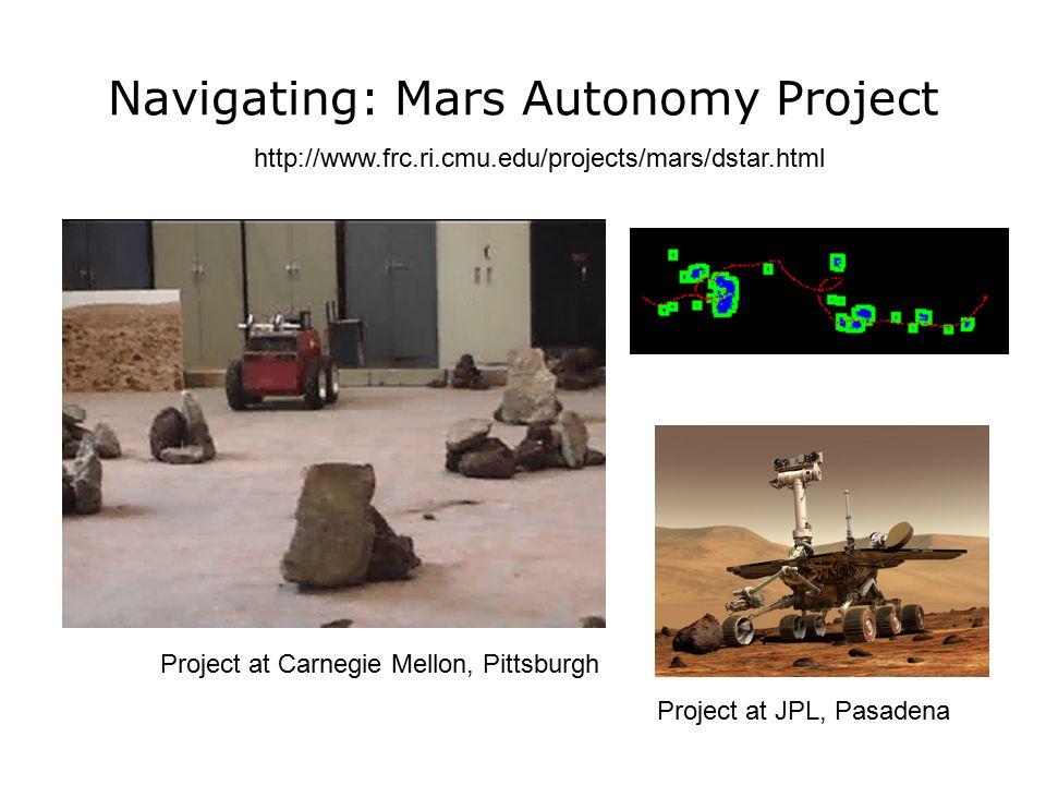 Navigating: Mars Autonomy Project http://www.frc.ri.cmu.edu/projects/mars/dstar.html Project at Carnegie Mellon, Pittsburgh Project at JPL, Pasadena