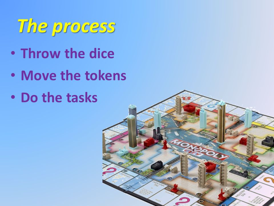 The process Throw the dice Move the tokens Do the tasks