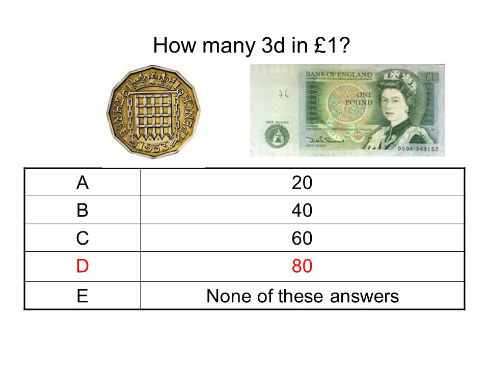 How many 3d in £1? A20 B40 C60 D80 ENone of these answers