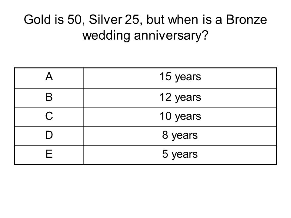 Gold is 50, Silver 25, but when is a Bronze wedding anniversary? A15 years B12 years C10 years D8 years E5 years