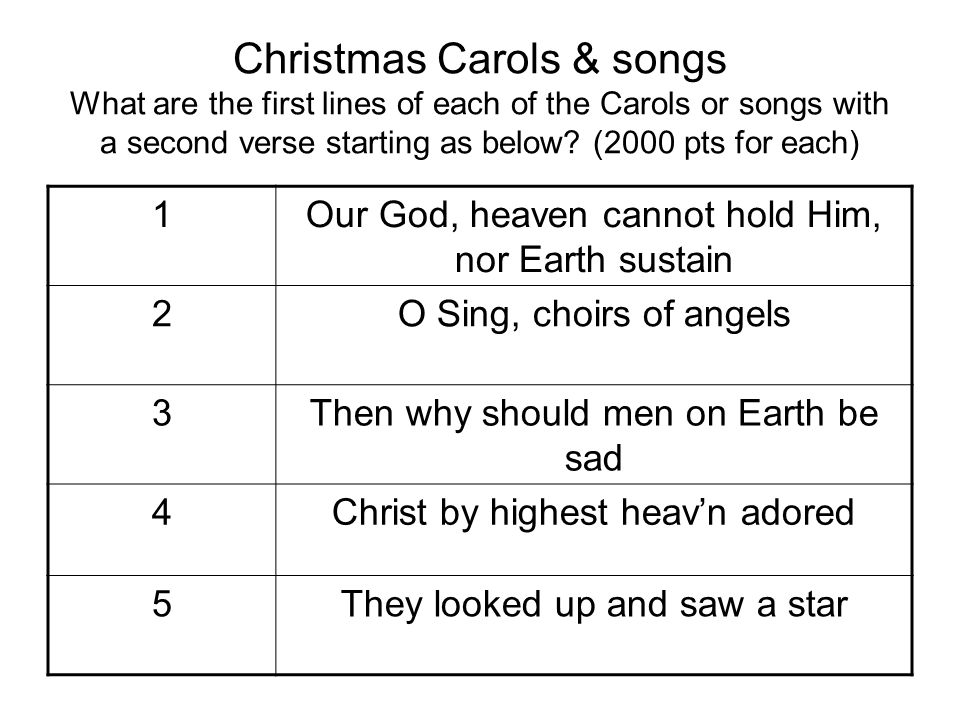 Christmas Carols & songs What are the first lines of each of the Carols or songs with a second verse starting as below? (2000 pts for each) 1Our God,