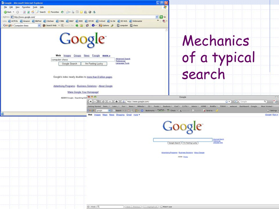 Mechanics of a typical search