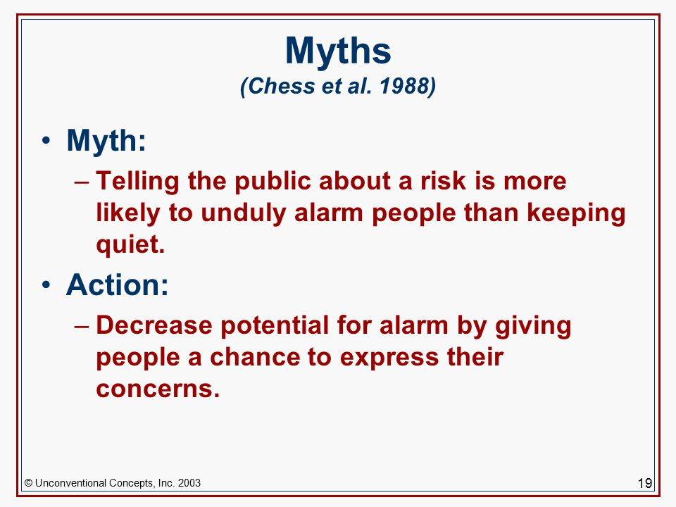 © Unconventional Concepts, Inc. 2003 19 Myths (Chess et al.