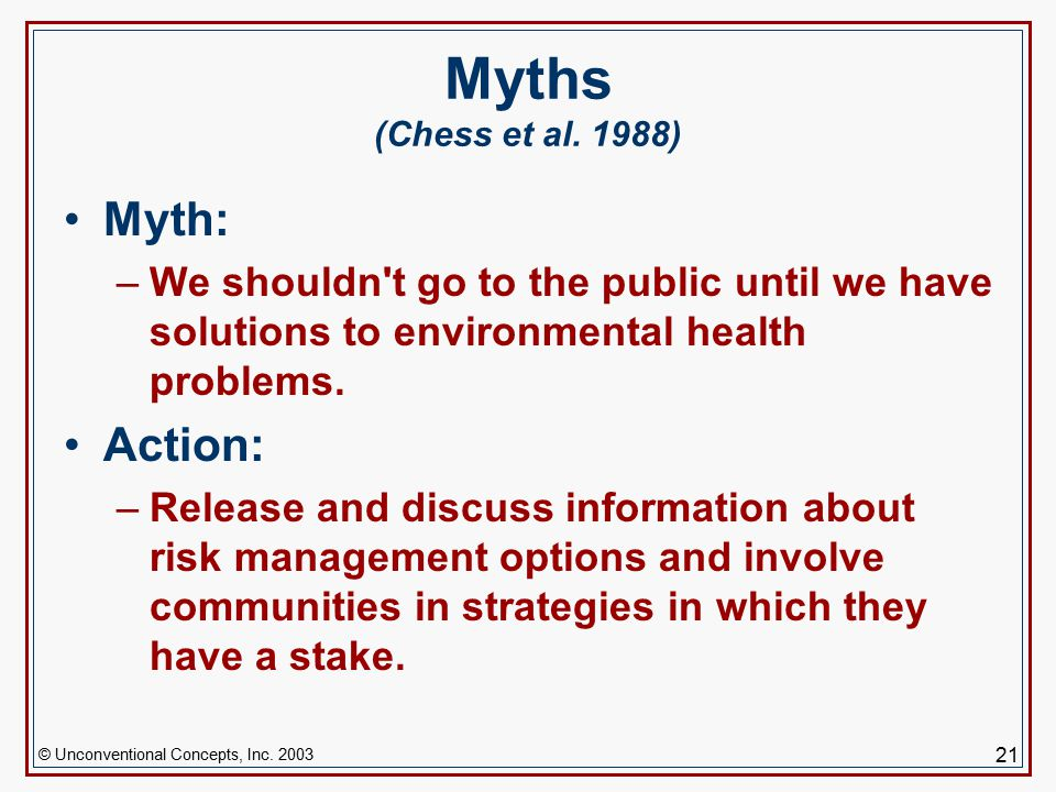 © Unconventional Concepts, Inc. 2003 21 Myths (Chess et al.
