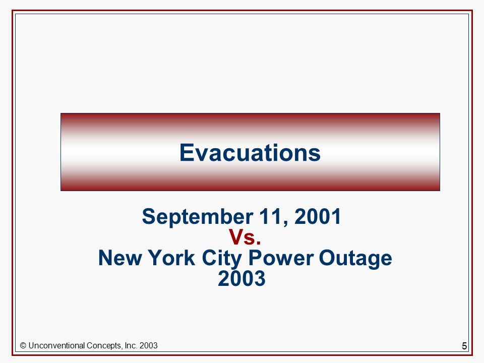 5 Evacuations September 11, 2001 Vs. New York City Power Outage 2003